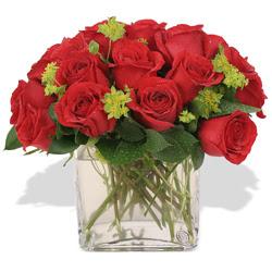 Tekirdağ çiçek , çiçekçi , çiçekçilik  10 adet kirmizi gül ve cam yada mika vazo