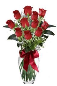11 adet kirmizi gül vazo mika vazo içinde  Tekirdağ hediye sevgilime hediye çiçek