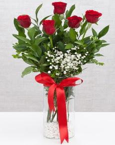 cam vazo içerisinde 5 adet kırmızı gül  Tekirdağ 14 şubat sevgililer günü çiçek