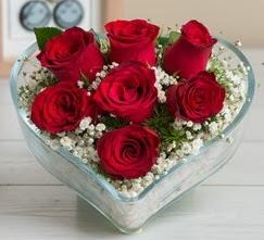 Kalp içerisinde 7 adet kırmızı gül  Tekirdağ çiçek gönderme