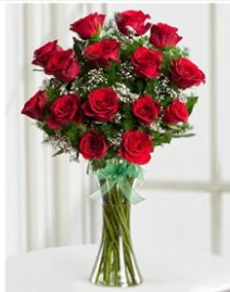 Cam vazo içerisinde 11 kırmızı gül vazosu  Tekirdağ çiçek online çiçek siparişi