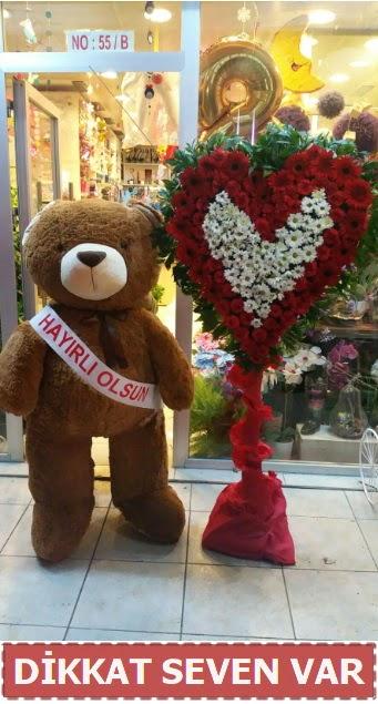 1.5 Metre peluş ayı ve Kalp  Tekirdağ çiçek gönderme