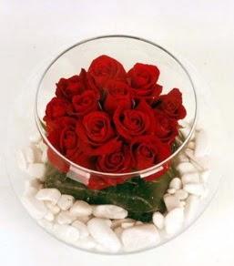 Cam fanusta 11 adet kırmızı gül  Tekirdağ çiçek satışı