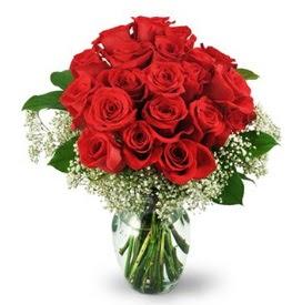 25 adet kırmızı gül cam vazoda  Tekirdağ hediye çiçek yolla