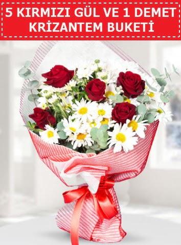 5 adet kırmızı gül ve krizantem buketi  Tekirdağ ucuz çiçek gönder