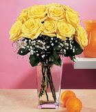 Tekirdağ internetten çiçek siparişi  9 adet sari güllerden cam yada mika vazo