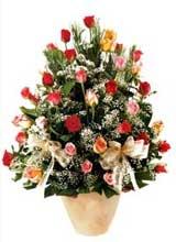 91 adet renkli gül aranjman   Tekirdağ çiçek gönderme