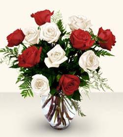 Tekirdağ anneler günü çiçek yolla  6 adet kirmizi 6 adet beyaz gül cam içerisinde