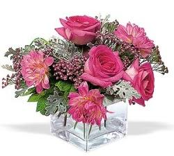 Tekirdağ 14 şubat sevgililer günü çiçek  cam içerisinde 5 gül 7 gerbera çiçegi