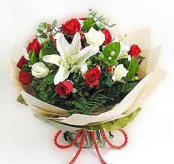 güller ve kazablanklardan görsel bir buket  Tekirdağ internetten çiçek siparişi