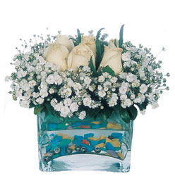 Tekirdağ internetten çiçek satışı  mika yada cam içerisinde 7 adet beyaz gül