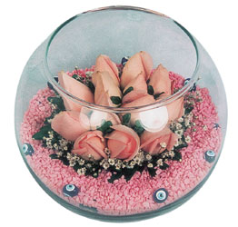 Tekirdağ internetten çiçek siparişi  cam fanus içerisinde 10 adet gül