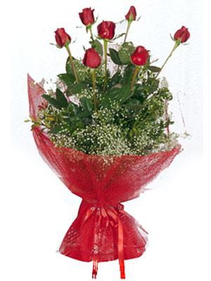 Tekirdağ kaliteli taze ve ucuz çiçekler  7 adet gülden buket görsel sik sadelik