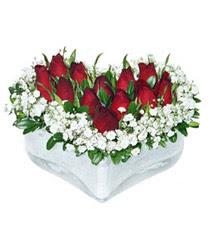 Tekirdağ online çiçek gönderme sipariş  mika kalp içerisinde 9 adet kirmizi gül