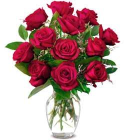 Tekirdağ cicekciler , cicek siparisi  1 düzine kirmizi gül sevenlere özel vazo gülleri