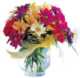 Tekirdağ internetten çiçek siparişi  cam yada mika içerisinde karisik mevsim çiçekleri