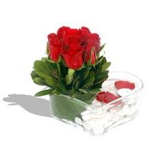 Mika kalp içerisinde 9 adet kirmizi gül  Tekirdağ kaliteli taze ve ucuz çiçekler