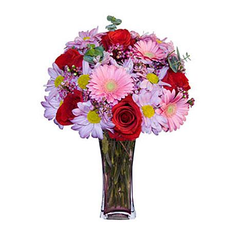 Görsel hediye karisik cam mevsim demeti  Tekirdağ internetten çiçek satışı