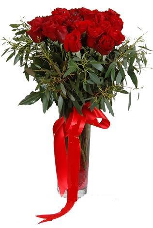 15 adet kirmizi gül cam vazo içerisinde  Tekirdağ internetten çiçek siparişi