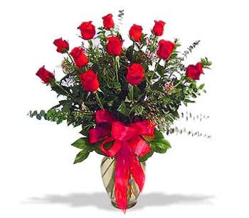 çiçek siparisi 11 adet kirmizi gül cam vazo  Tekirdağ cicekciler , cicek siparisi