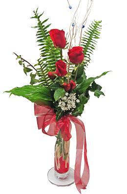 Çiçek gönderin cam vazoda 3 gül çiçekleri  Tekirdağ çiçekçiler