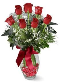 7 adet vazoda gül  Tekirdağ internetten çiçek siparişi  kirmizi gül