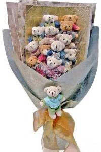 12 adet ayiciktan buket tanzimi  Tekirdağ uluslararası çiçek gönderme