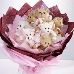 9 adet ayiciktan buket  Tekirdağ online çiçek gönderme sipariş