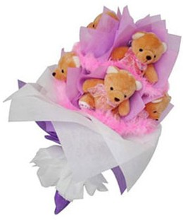9 adet ayiciktan buket  Tekirdağ çiçek servisi , çiçekçi adresleri