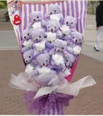11 adet pelus ayicik buketi  Tekirdağ çiçek gönderme