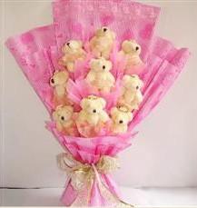 9 adet pelus ayicik buketi  Tekirdağ çiçek online çiçek siparişi