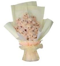 11 adet pelus ayicik buketi  Tekirdağ çiçekçi mağazası