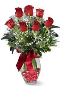 Tekirdağ online çiçek gönderme sipariş  7 adet kirmizi gül cam vazo yada mika vazoda