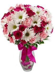 Tekirdağ çiçekçiler  Karisik mevsim kir çiçegi vazosu