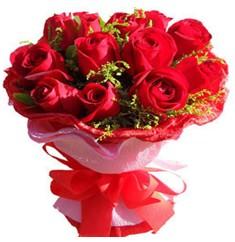 9 adet kirmizi güllerden kipkirmizi buket  Tekirdağ çiçek siparişi vermek