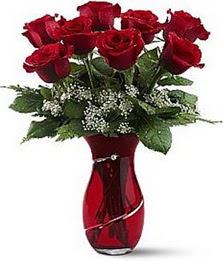 Vazo içinde 8 adet kirmizilar içinde güller  Tekirdağ online çiçek gönderme sipariş