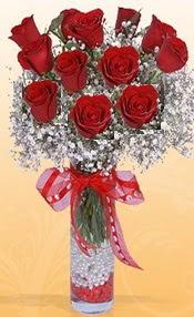 10 adet kirmizi gülden vazo tanzimi  Tekirdağ çiçekçiler