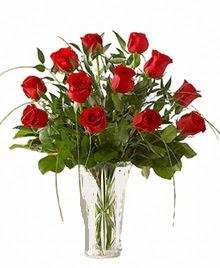 cam yada mika vazo içerisinde 9 kirmizi gül  Tekirdağ çiçekçiler
