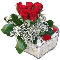 Tekirdağ online çiçekçi , çiçek siparişi  kalp mika içerisinde 7 adet kirmizi gül