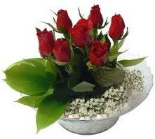 Tekirdağ internetten çiçek siparişi  cam yada mika içerisinde 5 adet kirmizi gül