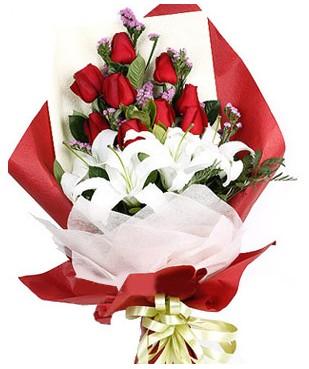 Tekirdağ çiçek siparişi vermek  1 dal kazablankaa 9 adet kırmızı gül buketi