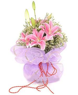 3 dal kazablanka görsel buketi  Tekirdağ internetten çiçek siparişi