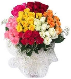 Tekirdağ çiçek , çiçekçi , çiçekçilik  51 adet farklı renklerde gül buketi