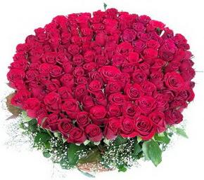 Tekirdağ İnternetten çiçek siparişi  100 adet kırmızı gülden görsel buket