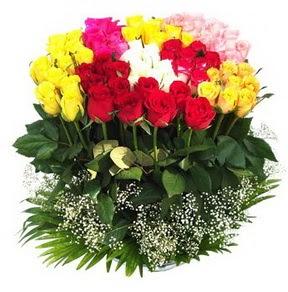 Tekirdağ güvenli kaliteli hızlı çiçek  51 adet renkli güllerden aranjman tanzimi