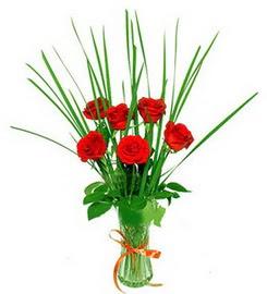 Tekirdağ hediye çiçek yolla  6 adet kırmızı güllerden vazo çiçeği