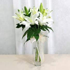 Tekirdağ çiçek online çiçek siparişi  2 dal kazablanka ile yapılmış vazo çiçeği