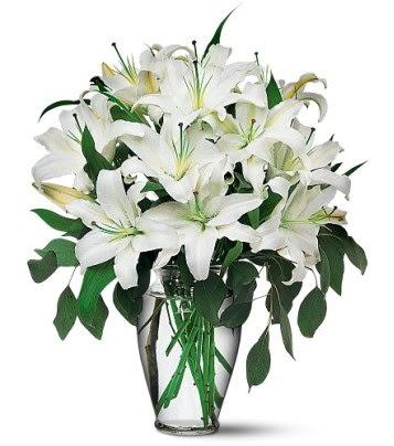 Tekirdağ internetten çiçek siparişi  4 dal kazablanka ile görsel vazo tanzimi