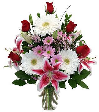 Tekirdağ güvenli kaliteli hızlı çiçek  1 dal kazablanka 5 gül ve kırçiçeği vazosu