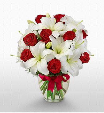 Tekirdağ çiçek siparişi sitesi  1 dal kazablanka 11 adet kırmızı gül vazosu